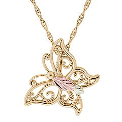 Black Hills Gold Tri-Tone Openwork Butterfly Pendant Necklace
