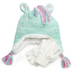 Girls 4-16 SO® Unicorn Hat & Gloves Set