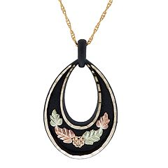 Black Hills Gold Tri-Tone Black Powder Coat Leaf Pendant Necklace