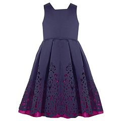 Girls 7-16 Bonnie Jean Laser Cut Mikado Dress