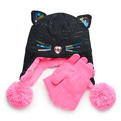 Girls 4-16 SO® Kitty Cat Hat & Gloves Set