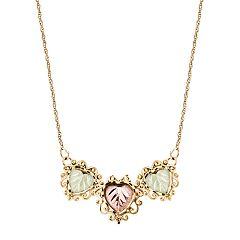 Black Hills Gold Tri-Tone Triple Leaf Necklace