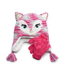 Girls 4-16 SO® Glitter Fox Hat & Gloves Set