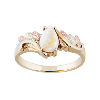 Black Hills Gold Tri-Tone Lab-Created Opal Ring