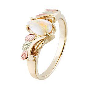 Black Hills Gold Tri-Tone Lab-Created Opal Ring