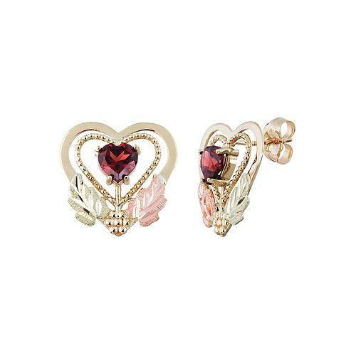 Black Hills Gold Tri-Tone Garnet Heart Stud Earrings