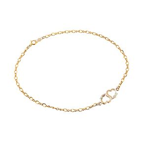 Black Hills Gold Tri-Tone Double Heart Anklet