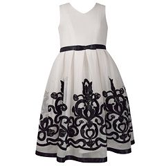 Girls 7-16 Bonnie Jean Embroidered Chiffon High-Low Hem Dress