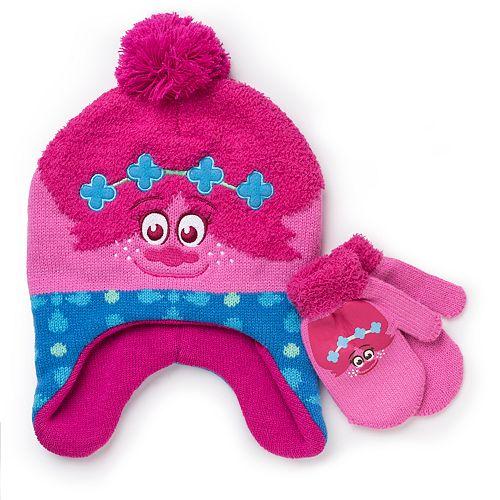 c75865ab01f Toddler Girl DreamWorks Trolls Poppy Trapper Hat   Mittens Set