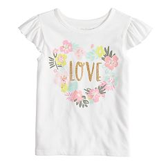 Toddler Girl Jumping Beans® 'Love' Floral Graphic Flutter Tank