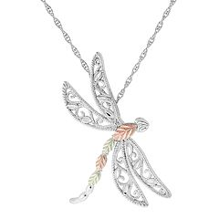 Black Hills Gold Tri-Tone Dragonfly Pendant Necklace in Sterling Silver