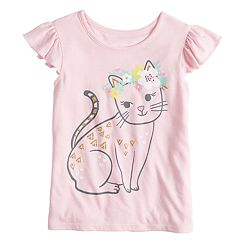 Toddler Girl Jumping Beans® Flutter Sleeve Cat with Floral Crown Graphic Tank