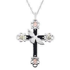 Black Hills Gold Tri-Tone Dove & Cross Pendant Necklace in Sterling Silver