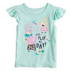 Toddler Girl Jumping Beans® Peppa Pig 'Lets Play All Day' Peppa Pig, Rebecca Rabbit and Emily Elephant Flutter Tank
