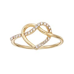 LC Lauren Conrad Simulated Crystal Heart Knot Ring