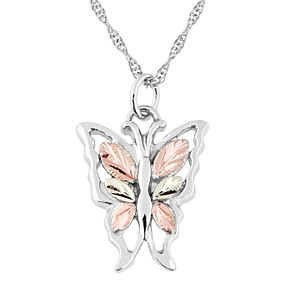 Black Hills Gold Tri-Tone Butterfly Pendant Necklace in Sterling Silver