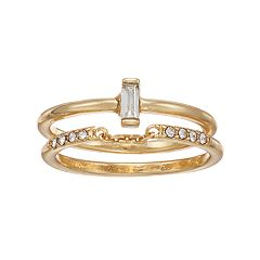LC Lauren Conrad Simulated Crystal Solitaire & Band Ring Set