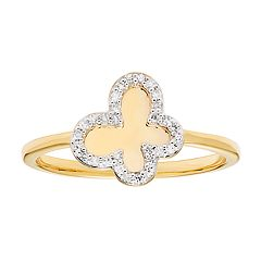 10k Gold 1/10 Carat T.W. Diamond Butterfly Ring