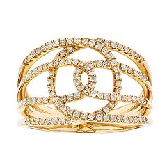 10k Gold 3/8 Carat T.W. Diamond Interlock Ring