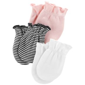 Baby Girl Carter's 3-Pack Solid & Print Mitts
