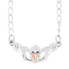 Black Hills Gold Tri-Tone Claddagh Necklace in Sterling Silver