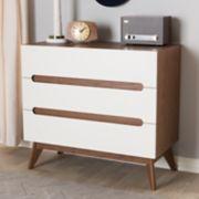 Baxton Studio Calypso Mid-Century 3-Drawer Dresser