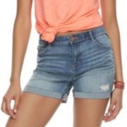 Juniors' Rewind High-Waisted Midi Denim Shorts