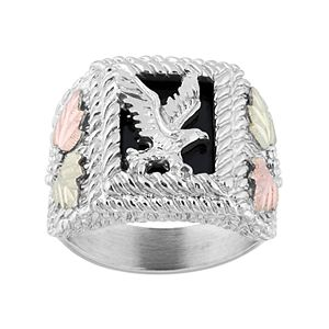 Black Hills Gold Tri-Tone Onyx Eagle Ring in Sterling Silver