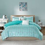 Intelligent Design Khloe Metallic Printed Duvet Cover Set