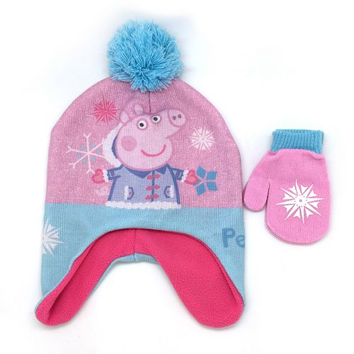 Toddler Girl Peppa Pig Hat   Mittens Set 09db1fac361e