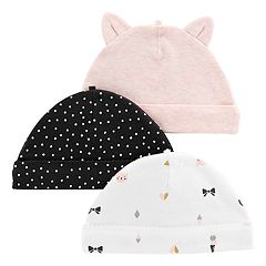 Baby Girl Carter's 3-Pack Print & Solid Hats