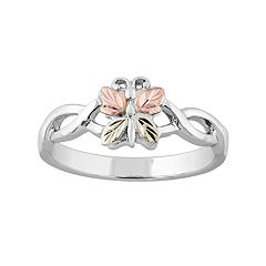 Black Hills Gold Tri-Tone Butterfly Ring in Sterling Silver