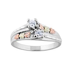 Black Hills Gold Tri-Tone Cubic Zirconia Ring in Sterling Silver