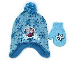 Disney's Frozen Anna & Elsa Hat & Mittens Set
