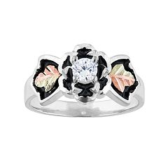 Black Hills Gold Tri-Tone Cubic Zirconia Flower Ring in Sterling Silver