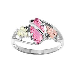 Black Hills Gold Tri-Tone Pink Cubic Zirconia Ring in Sterling Silver