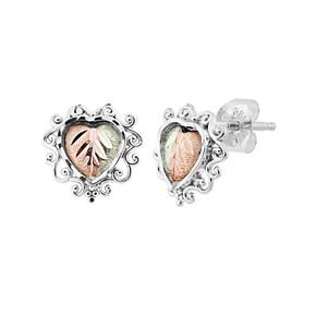 Black Hills Gold Tri-Tone Gold Filigree Stud Earrings in Sterling Silver