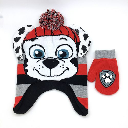 Paw Patrol Marshall Knitted Beanie Hat Mittens Gloves 2pc Set