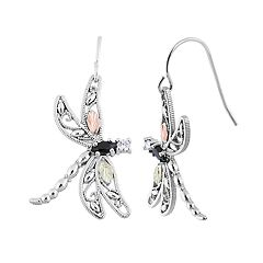 Black Hills Gold Tri-Tone Onyx & Cubic Zirconia Dragonfly Drop Earrings in Sterling Silver