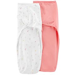 Baby Girl Carter's 2-Pack Print & Solid Swaddles