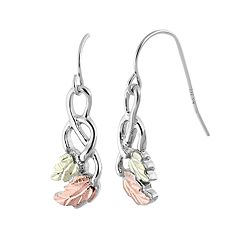 Black Hills Gold Tri-Tone Leaf Drop Earrings in Sterling Silver