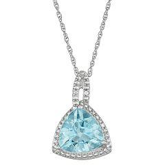 Sterling Silver Blue Topaz & Diamond Accent Triangle Pendant Necklace