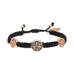 He Rocks Cross Corded Bolo Bracelet