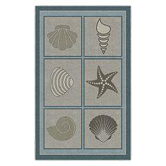 Brumlow Mills Muted Beach Squares Seashells Printed Rug