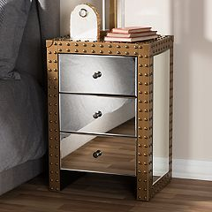 Baxton Studio Azura Industrial Mirrored Nightstand