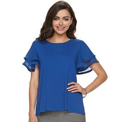 Women's ELLE™ Mixed-Media Layered Sleeve Top
