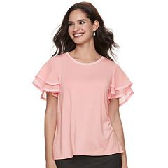 Women's ELLE™ Mixed-Media Layered Sleeve Top
