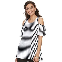 Women's ELLE™ Cold-Shoulder Flounce Tunic