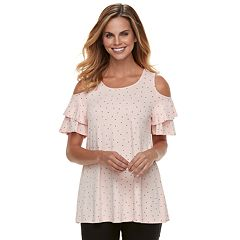 Women's ELLE™ Cold-Shoulder Flounce Top
