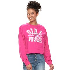 Juniors' Modern Lux 'Girl with Power' Crop Tee